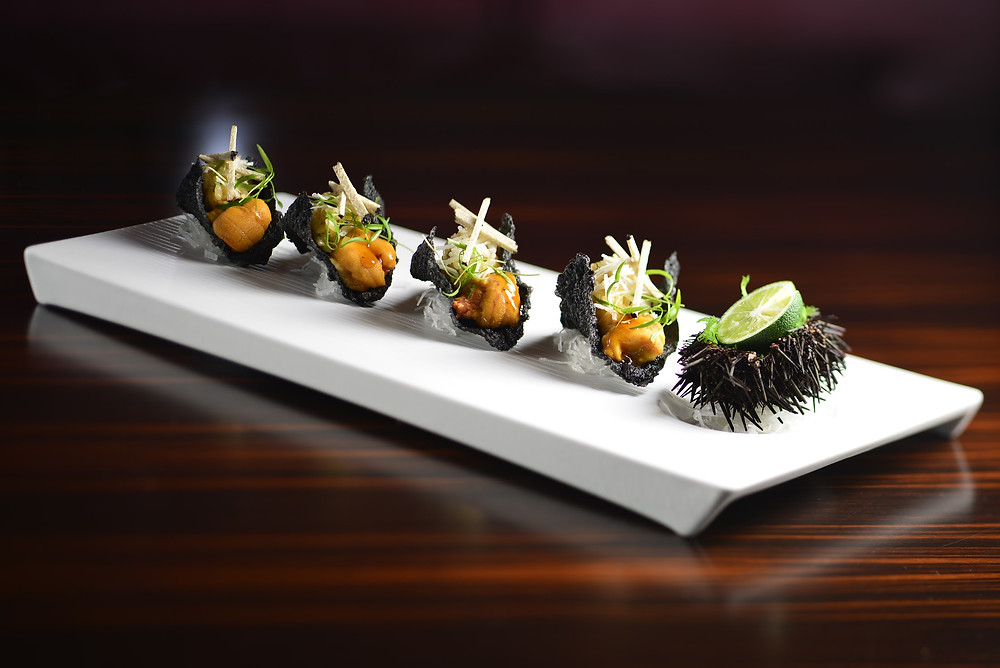 Uni seaweed tacos with sea urchin and truffle