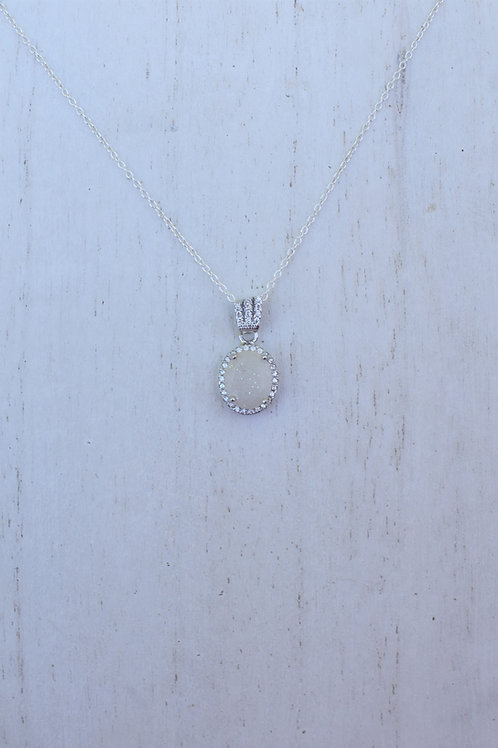 Oval Halo Necklace