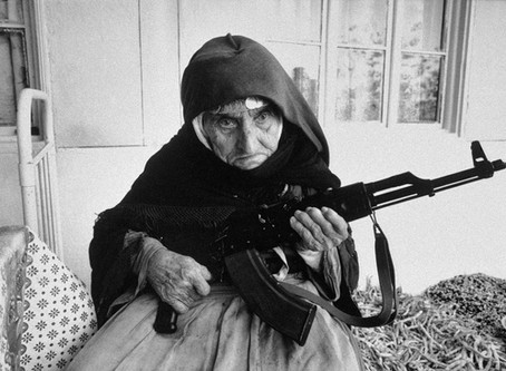 106-year old Armenian woman protecting her home with an AKM Rifle, (1990)