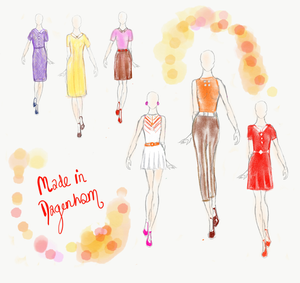Costume designer Beth McCullagh's drawings of colourful, 60s style clothing