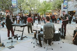 Metro playing at Lytton Plaza, Palo Alto.
