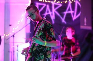 Joseph playing bass at METRO's DIY show, Paradox