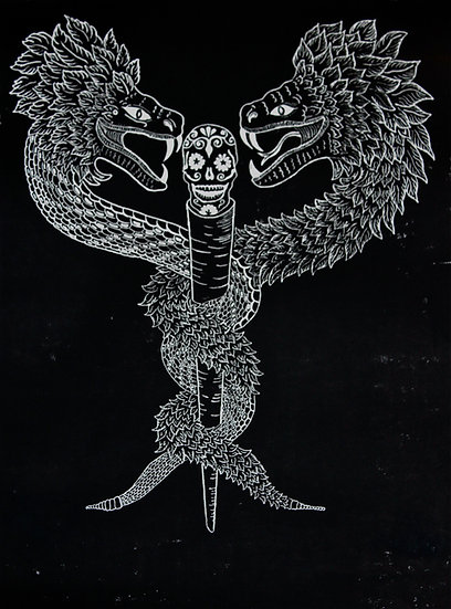 Conductors of the Deceased -woodcut 36x48