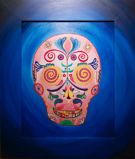 Folk Art Skull -original acrylic on canvas, 16x20