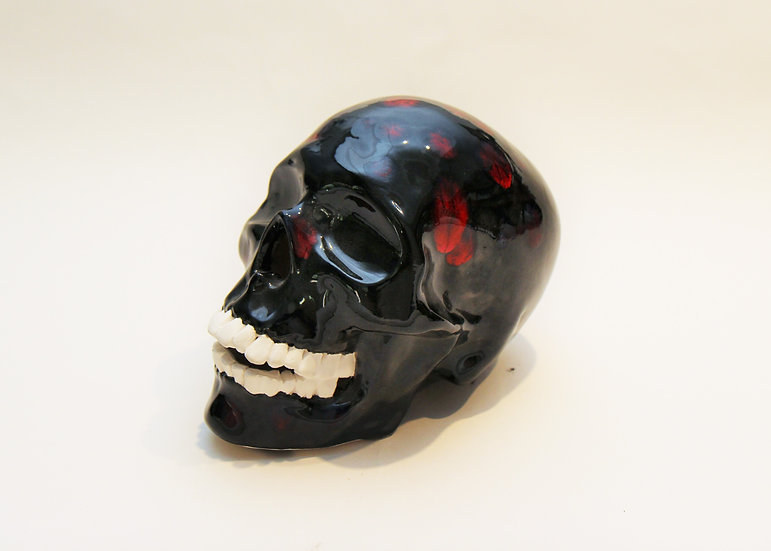 Ceramic Skull, Black/Red