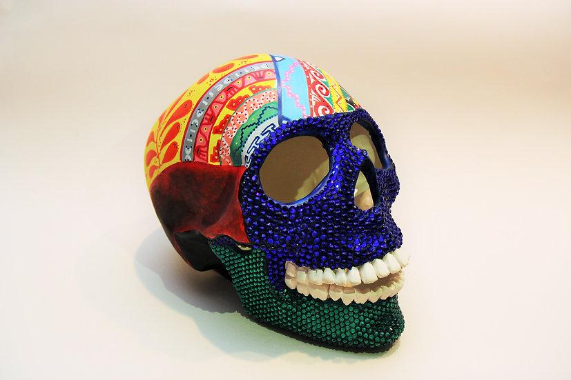 Mesoamerican inspired, large ceramic skull.