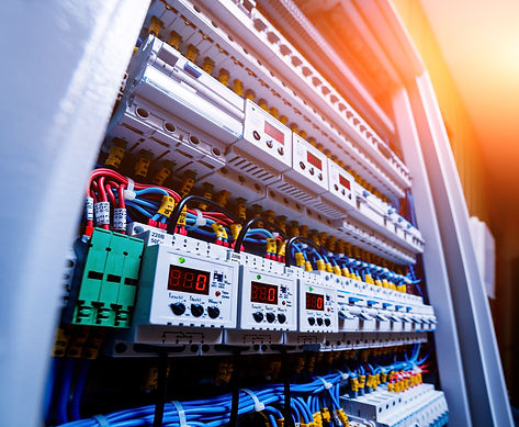Voltage switchboard with circuit breakers. Electrical background.jpg