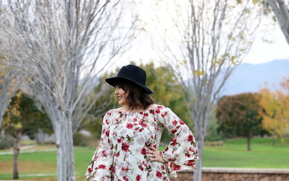 Over-the-knee boots, knee-high boots, winter outfit, winter style, outfit of the day, OOTD, floral dress, fall style, 2017 fashion, lifestyle blog, fashion blog, blogger, makeup blog, winter hat