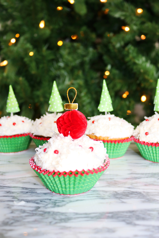 Banana Nut Cupcakes - Christmas Tree Cupcakes - Cactus Christmas Tree Cupcakes