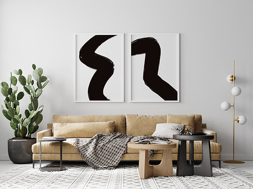 8.5x11 Black Abstract - Set of 2