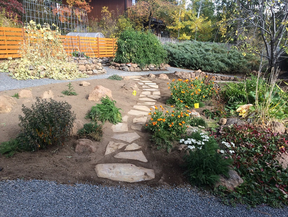 Stone Stepper Path & Horizontal Fencing