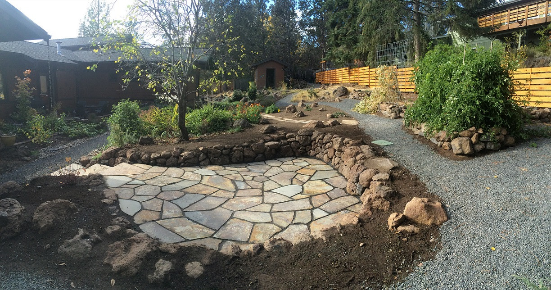 Flagstone Patio & Horizontal Cedar Fence