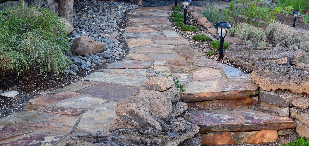 Flagstone Path with Steps & Basalt Wall