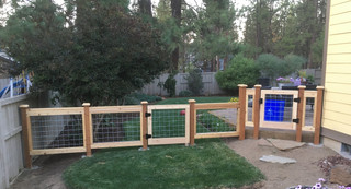 Custom Wire Grid Fence with Gate in Bend