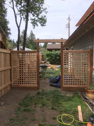 Custom Wood Grid Cedar Fencing _ Cedar & Stone