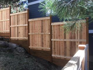 Custom Cedar Stepped Cap & Bevel Fence _ Cedar & Stone