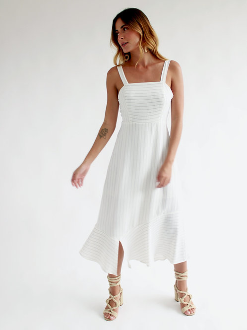 Vestido Midi Risca de Giz