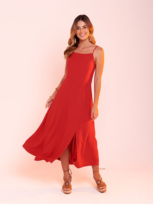 Vestido Midi Marieta Vermelho