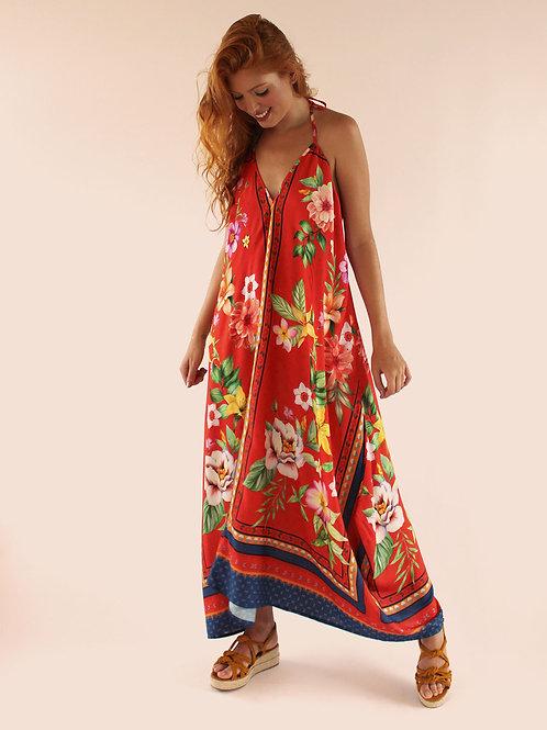 Vestido Longo Barrado Floral