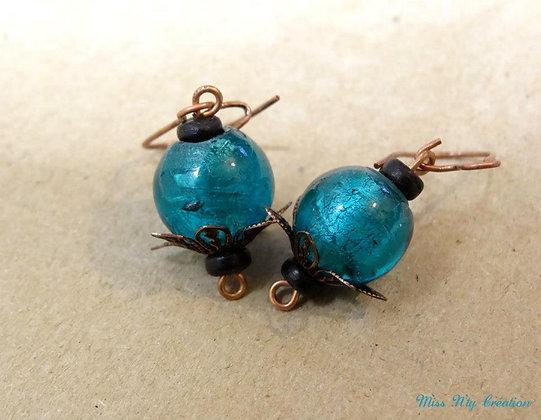 Boucles d'oreille de verre Turquoise