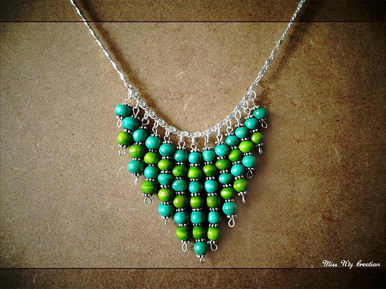 Collier Ethnique en bois turquoise et vert