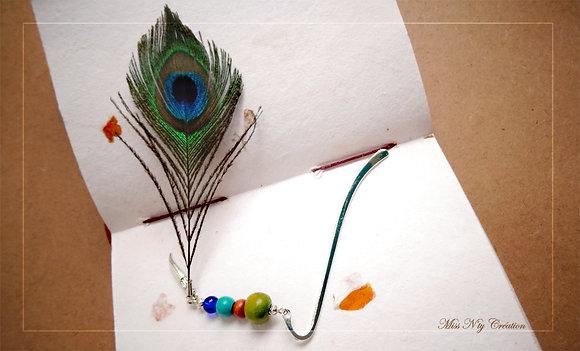 Marque-Page Perles de bois & verre, Plume de Paon