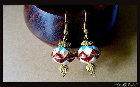 Boucles d'oreilles aux couleurs de l'or Indien