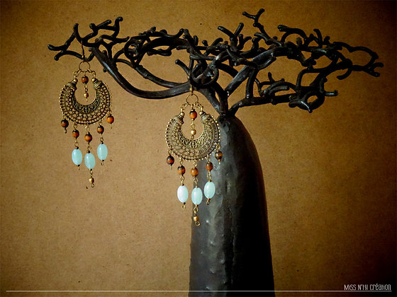 """Créoles """" Coeur de Lune """" & Perles translucides"""