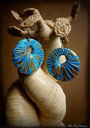 Boucles d'oreilles Créoles en Tissus de Bali