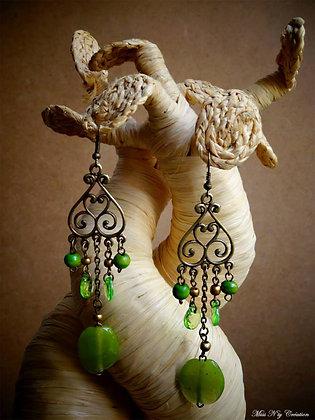 """Boucles d'oreilles """"Orientales Green"""" bois, verre"""