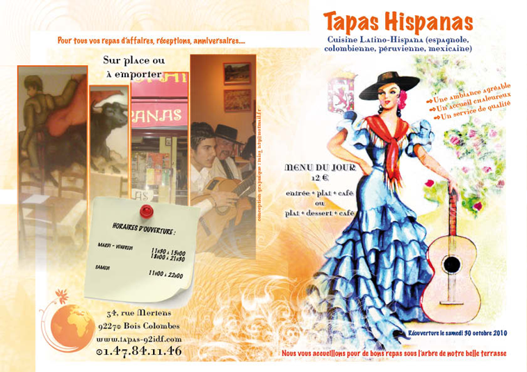 Dépliant pour Tapas Hispanas