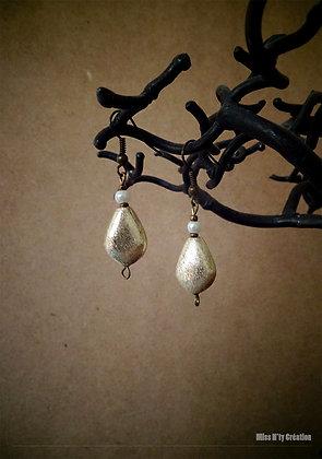 "Boucles d'oreilles Perles de L'Inde "" Gold & Pearl"