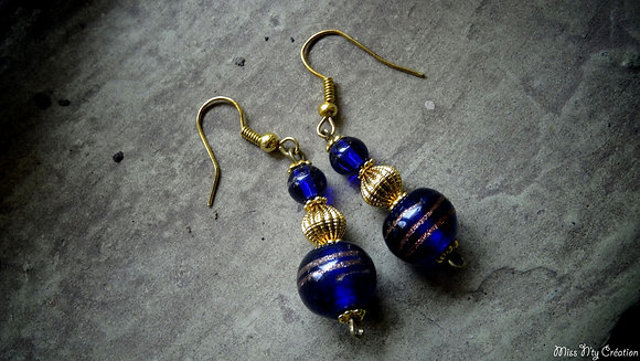 Boucles d'oreilles aux couleurs Bleu Azur & Or