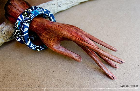 Double Bracelet tissus wax africain aux tons bleu