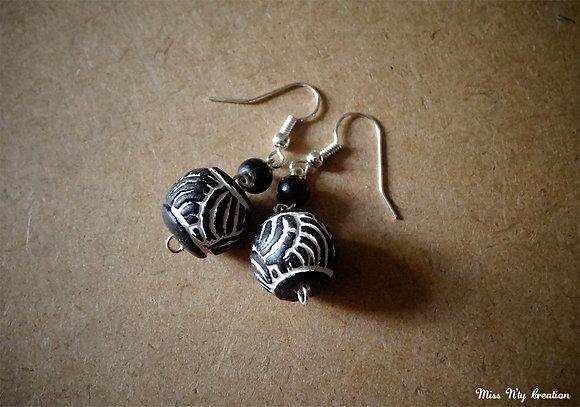 Boucles Ethniques d'argile et perle d'Afrique