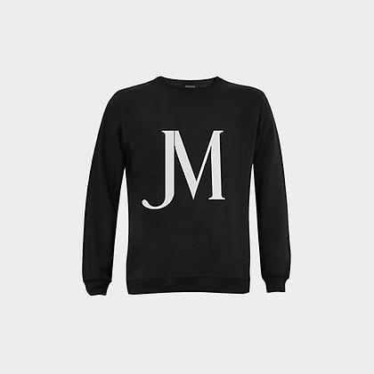 MEN'S JM LOGO FUZZY CREWNECK SWEATSHIRT // Black & White
