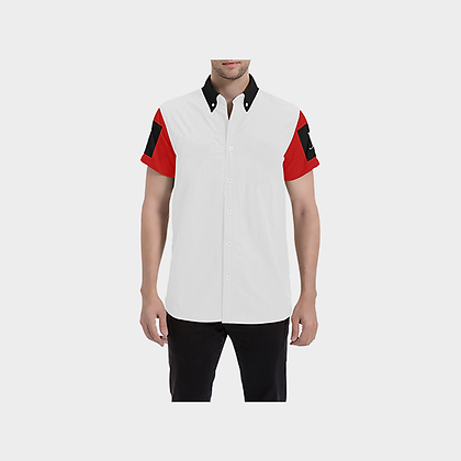 MEN'S SHORT SLEEVE JM BUTTON-UP SHIRT // Red, Black, & White