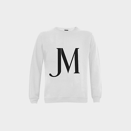 MEN'S JM LOGO FUZZY CREWNECK SWEATSHIRT // White & Black