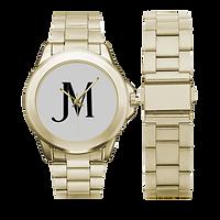 men's gold, white JM Logo Gilt watch pic