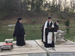 Fr. Symeon and Fr. Silouan outside