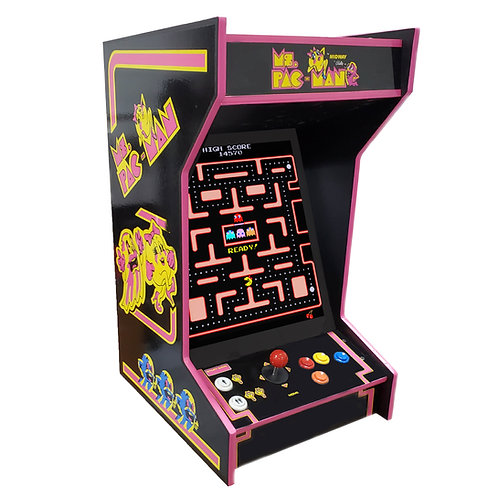 Tabletop Black Ms Pac-Man Arcade Machine With 60 Games And Lit Marquee