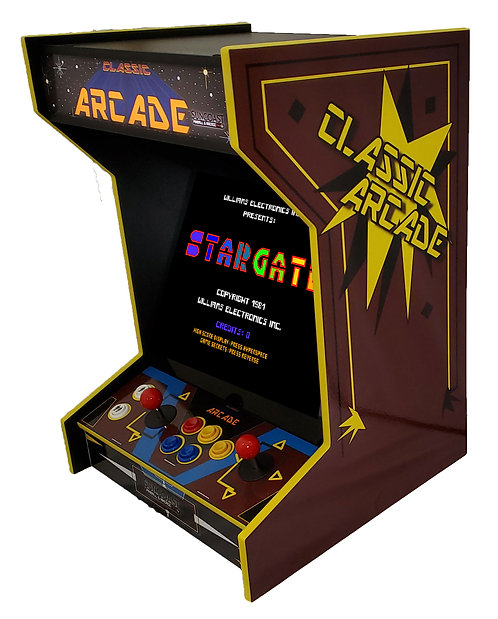 Horizontal Tabletop Arcade Machine With 19 Classic Games And Lit Marquee