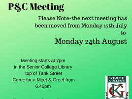 P&C Meeting Moved to 24th August