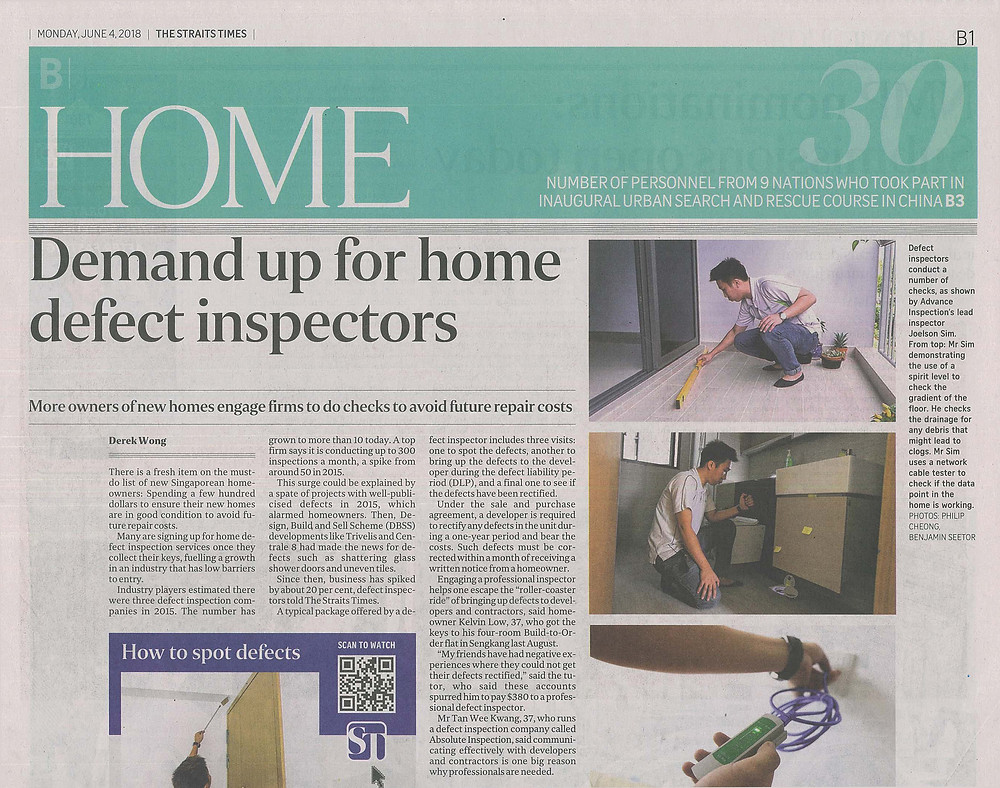 Advance Inspection Interview on The Straits Time