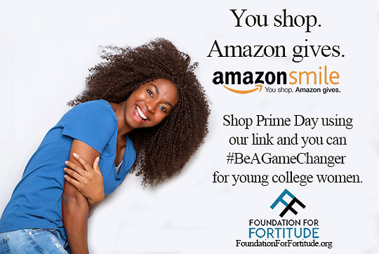 amazon smiles girl in blue shirt for Pri