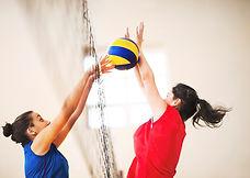 Os jogadores de voleibol