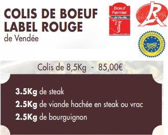 COLIS DE BOEUF LABEL ROUGE (8,5kg)