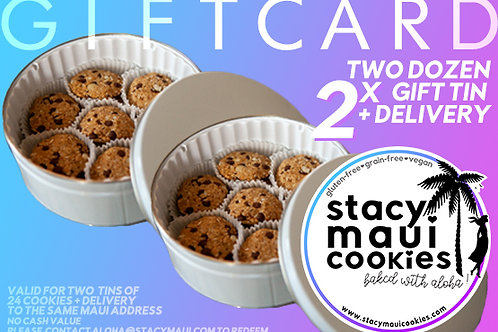 Local Gift Card: 2x Two Dozen Gift Tin (2x 24 Cookies)