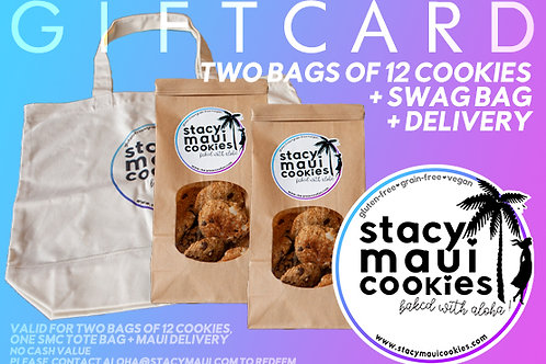 Local Gift Card: Two Bags of 12 Cookies + Swag Bag