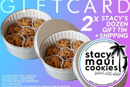 Gift Card: 2x Stacy's Dozen Gift Tin (2x 14 Cookies)